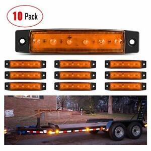 "Nilight 10PCs 3.8"" Amber 6 LED Indicator Rear Side Light Truck Trailer RV Marker"