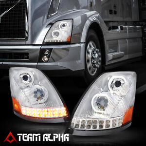 Fits Volvo VN VNL{DUAL LED HALO DRL+SEQUENTIAL SIGNAL}Chrome Projector Headlight
