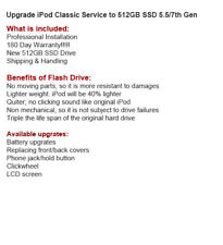 512GB SDD Drive Upgrade Service for your 5th / 7th Classic Generation iPod