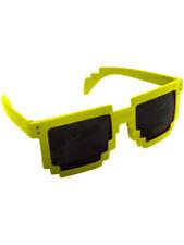 Yellow 80's 8-Bit Pixelated Videogame Pixels Sunglasses Costume Accessory