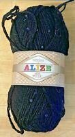 Knitting Yarn-Alize-Sequined-Black-100g-23% Wool-Spinning-Crochet-Crafts-DK-V4