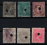 P135052/ SPAIN STAMPS – YEARS 1875 - 1889 USED CLASSIC LOT – CV 100 $