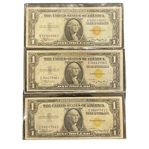 Estate Purchase 1935 (3) $1 Yellow Seal North Africa Silver Certificate Notes