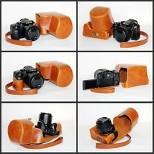 Brown / Tan protective leather case bag for  Leica V-Lux (Typ 114) 18194 camera