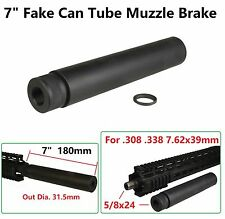 "7"" Solid Tube Fake Can Thread On Muzzle Brake 5/8x24 Thread For .308 7.62x39 338"