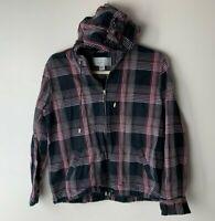 Christopher & Banks Women's Jacket Size Medium Hooded Full Zip Plaid Black Pink