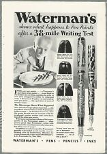 1932 WATERMAN Fountain Pen advertisement, 38 mile 'road' test