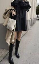 Zara Black Leather Cowboy Boots Size 5