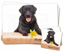 'Happy Easter' Black Labrador Twin 2x Placemats+2x Coasters Set in , AD-L86DA1PC