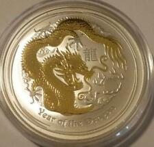 2012 AUSTRALIAN LUNAR YEAR OF THE DRAGON **GOLD GILDED** 1 oz. SILVER COIN *BU*