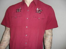 vtg EMBROIDERED WESTERN SHIRT Pearl Snap HIGH NOON L