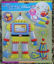 Baby Nursery Childrens Kids Boys Robots Rockets Space Wall Stickers Bedroom