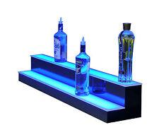 """42"""" Led Bottle Bar Rack Shelf, Two Steps, Color Changing Lights, Glass Display"""