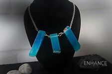 Natural Blue Agate Stone Necklace with 925 Sterling Silver Chain