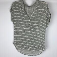 Splendid Gray Striped Sweater Short Sleeve Size Medium Buttons Cap Sleeve