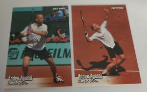 2 ANDRE AGASSI AUTHENTIC 2003 NETPRO TENNIS ROOKIE CARD RC INVESTOR LOT PSA BGS
