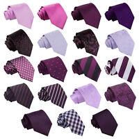 DQT Purple Mens Tie Solid Plain Plaid Patterned Floral Paisley Polka Dot Tartan
