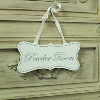 White wooden hanging door plaque sign shabby vintage chic powder room