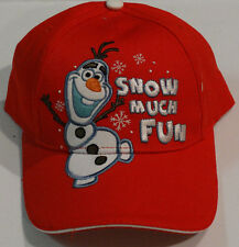 New Disney Frozen Olaf Baseball Cap Hat Snow Much Fun Red Adjustable Kids