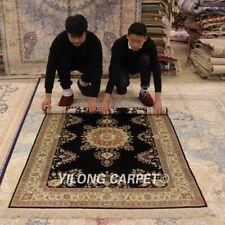 Yilong 4'x6' Classic Silk Handmade Area Rug Black Handwork Antique Carpets L31B