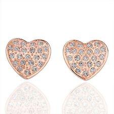 Heart Crystal Rose Gold Plated Hot Style Stud Earring 18k Eardrop Dangle Jewelry
