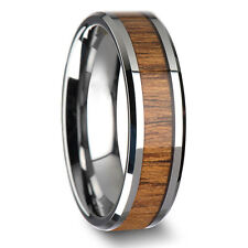 8mm Band Ring Tungsten Steel Wood Couple Men's Stainless Steel Silver Inlaid ID