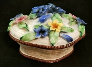 Antique Vintage ITALY Floral MAJOLICA Large Lidded FLOWER BASKET