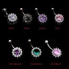 Rhinestone Ring  Jewelry Zircon Steel Flower Belly Piercing Body Navel Button