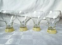 Homer Laughlin Fiesta Ware Beer Glass Banded Yellow 16 Oz. Goblet TumblerSet 4