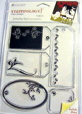 Journaling Tags Clear Acrylic Stamp Set Autumn Leaves Stampology AL3353 NEW!