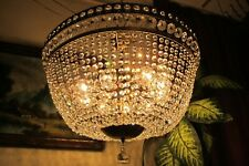 Vintage PLAFONIER  French  Basket style  Crystal Chandelier Light Lamp 1960's