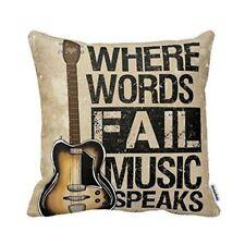 Guitar Cushion Cover Cotton Linen Throw Pillow Case Home Sofa Decorative 16 X 16