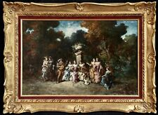 ADOLPHE MONTICELLI (1824-1886) LARGE SIGNED FRENCH OIL ON PANEL - FIGURES PARK
