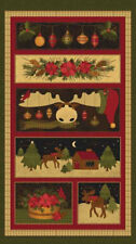 "Christmas Moose Cabin Holiday Ornaments Cotton Fabric Benartex 24""X44"" Panel"