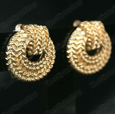 CLIP ON EARRINGS weave MATTE GOLD TONE vintage retro ROUND rope textured BOHO