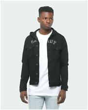 New Mens Saint Morta Saint Morta London Hooded Denim Jacket Black Tops Na