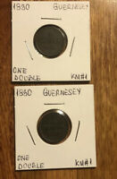 Set Of 2 1830 Guernsey, Double Copper Collectible Coins KM#1