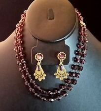 Antique Art Deco Necklace Amethyst Glass Bead Multi Strand + Rhinestone Earrings