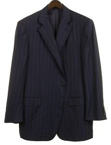 Ermenegildo Zegna XXX Couture Trofeo Blue Striped Wool Sport Coat Jacket 60 50 R