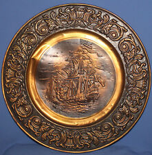 Vintage ornate floral copper wall decor plate naval battle ships