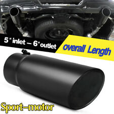 "Black 5"" Inlet 6"" Outlet 15""inch Long Exhaust Tip Rolled End Angle Cut Tail Pipe"