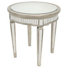 NEW ANTIQUE SILVER ROUND MIRROR MIRRORED SIDE OCCASIONAL TABLE FRENCH PROVINCIAL
