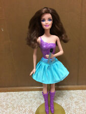 Barbie The Princess And The Popstar Brunette Keira Doll Dressed Mic Purple Boots