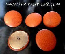 Lot 5 boutons à pied fauve 45mm ancien en cuir ou simili couture manteau veste