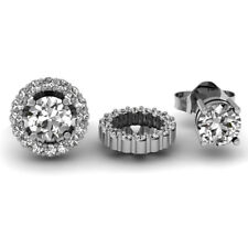 0.30 CT 14K White Gold Round Diamond Cluster Removable Jackets For Stud Earrings
