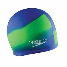Speedo Composite Silicone Stretch Fit Swim Swimming Cap, UV Green/Blue, One Size