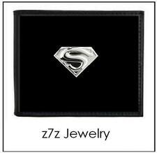 SUPERMAN Emblem Wallet - bifold black leather w/ silver superhero medallion z7qq