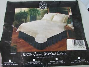 Vintage Matelasse Twin Bedspread Coverlet Cotton Floral