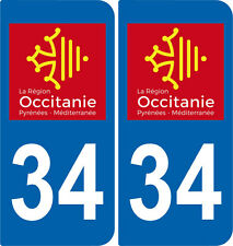 2 Stickers autocollant plaque immatriculation Auto 34 Occitanie - LogoType