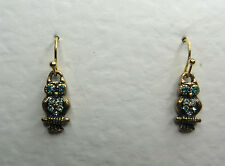 SMALL OWL DROP EARRINGS GLASS CRYSTAL GREEN EYES GOLD PLATE HOOK EARWIRE